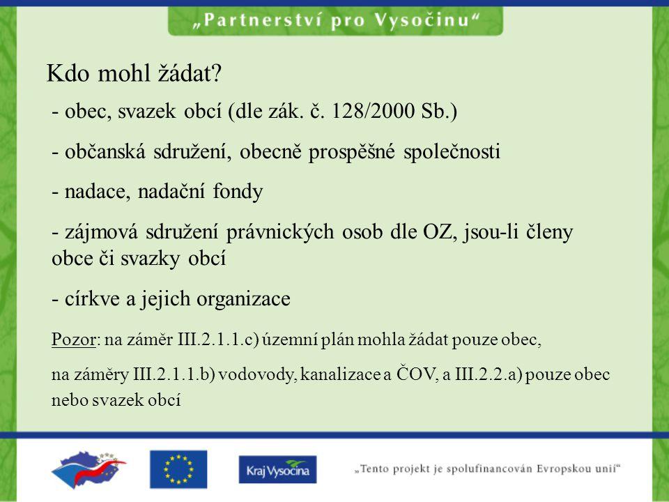 Kdo mohl žádat? - obec, svazek obcí (dle zák. č. 128/2000 Sb.) - občanská sdružení, obecně prospěšné společnosti - nadace, nadační fondy - zájmová sdr