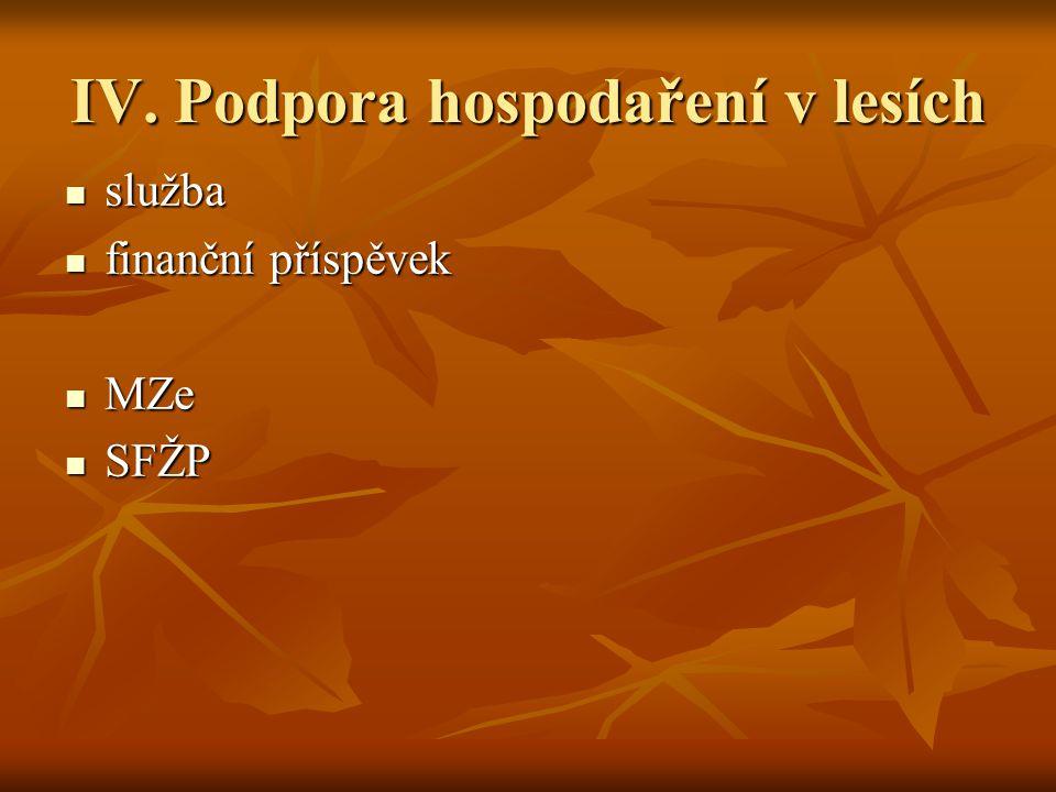 IV. Podpora hospodaření v lesích služba služba finanční příspěvek finanční příspěvek MZe MZe SFŽP SFŽP