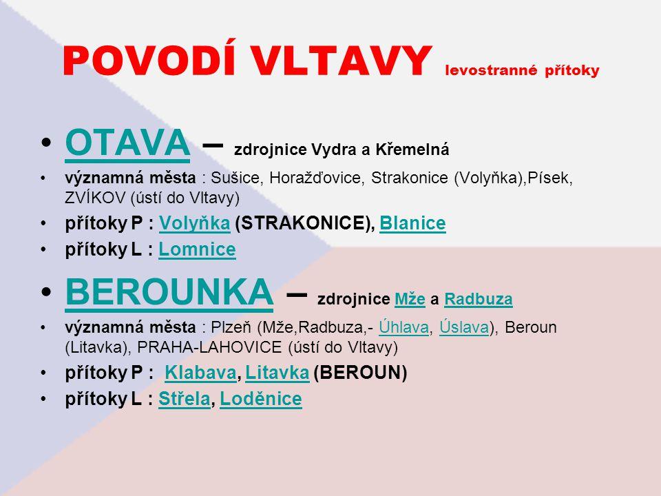 POVODÍ VLTAVY levostranné přítoky OTAVA – zdrojnice Vydra a KřemelnáOTAVA významná města : Sušice, Horažďovice, Strakonice (Volyňka),Písek, ZVÍKOV (ús