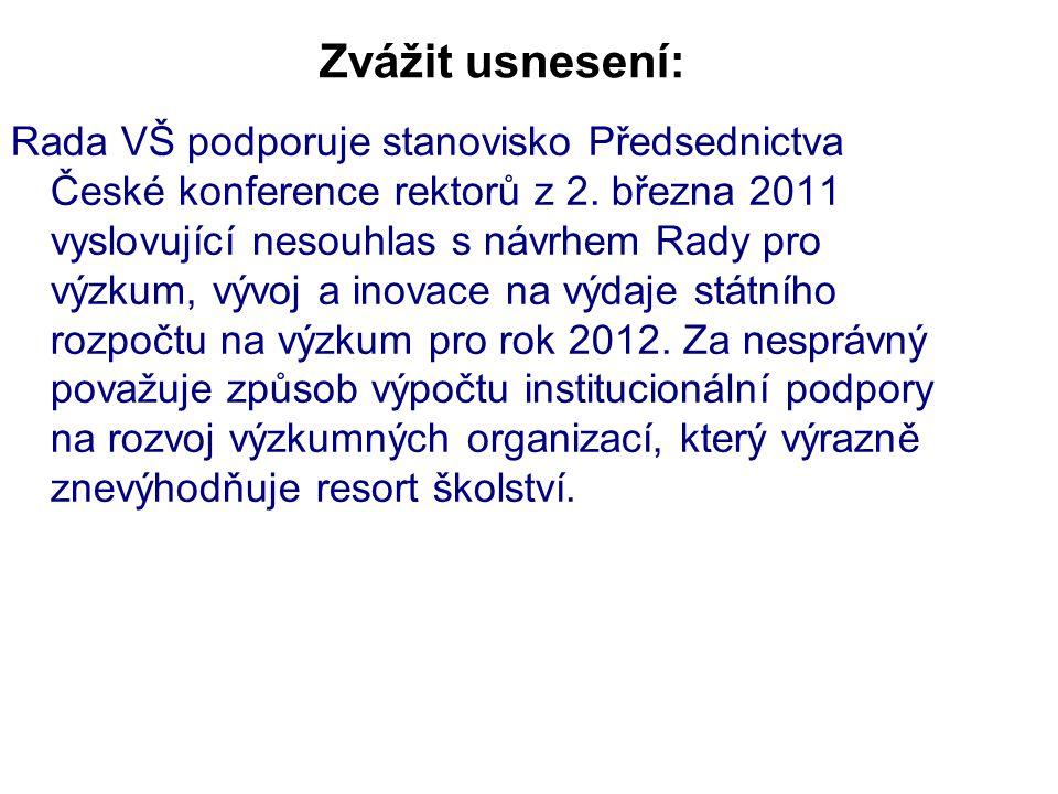 Zvážit usnesení: Rada VŠ podporuje stanovisko Předsednictva České konference rektorů z 2. března 2011 vyslovující nesouhlas s návrhem Rady pro výzkum,