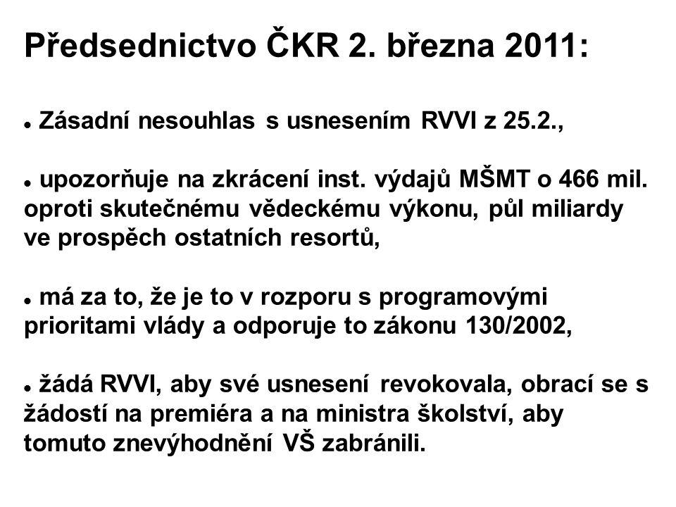 Předsednictvo ČKR 2. března 2011: Zásadní nesouhlas s usnesením RVVI z 25.2., upozorňuje na zkrácení inst. výdajů MŠMT o 466 mil. oproti skutečnému vě