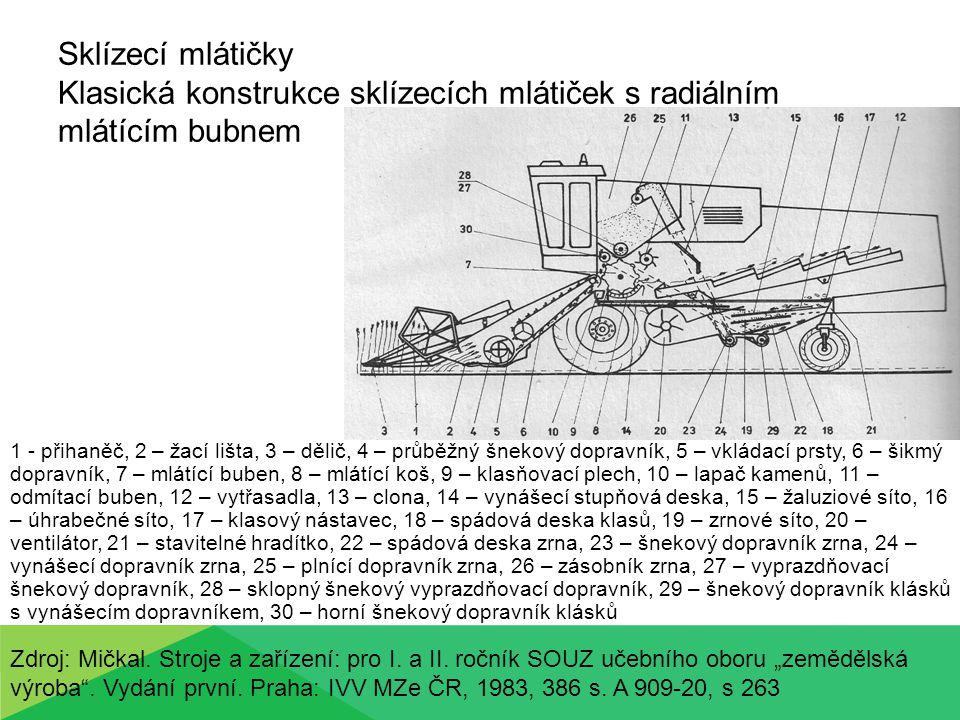 Sklízecí mlátičky Klasická konstrukce sklízecích mlátiček s radiálním mlátícím bubnem 1 - přihaněč, 2 – žací lišta, 3 – dělič, 4 – průběžný šnekový do