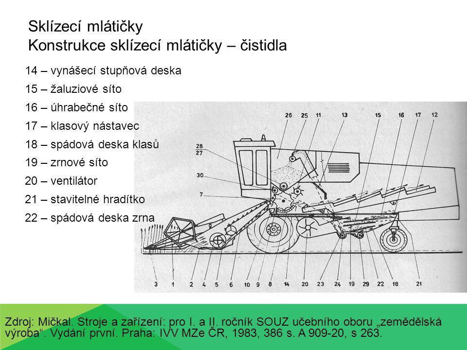 Sklízecí mlátičky Konstrukce sklízecích mlátiček – tok zrna Zdroj: Mičkal.