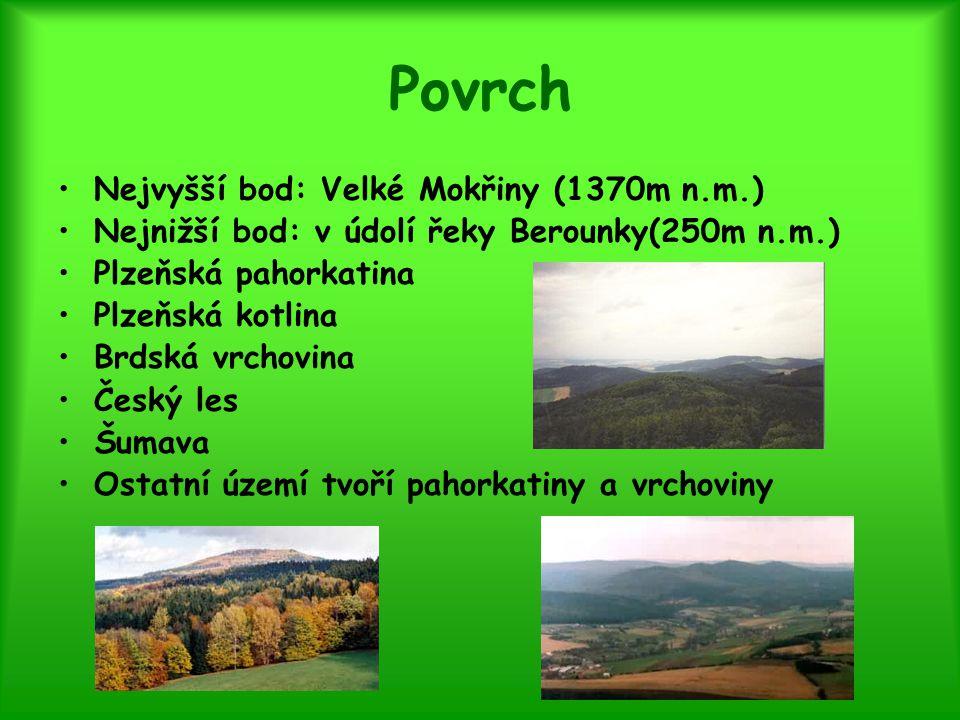 Povrch Nejvyšší bod: Velké Mokřiny (1370m n.m.) Nejnižší bod: v údolí řeky Berounky(250m n.m.) Plzeňská pahorkatina Plzeňská kotlina Brdská vrchovina
