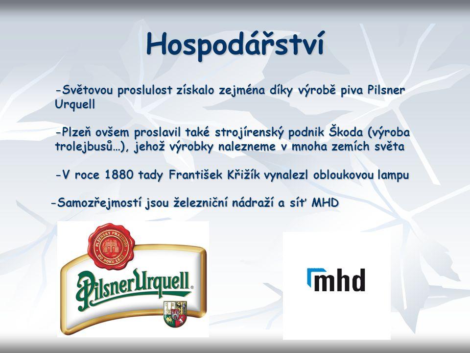 Hospodářství -Světovou proslulost získalo zejména díky výrobě piva Pilsner Urquell -Plzeň ovšem proslavil také strojírenský podnik Škoda (výroba trole