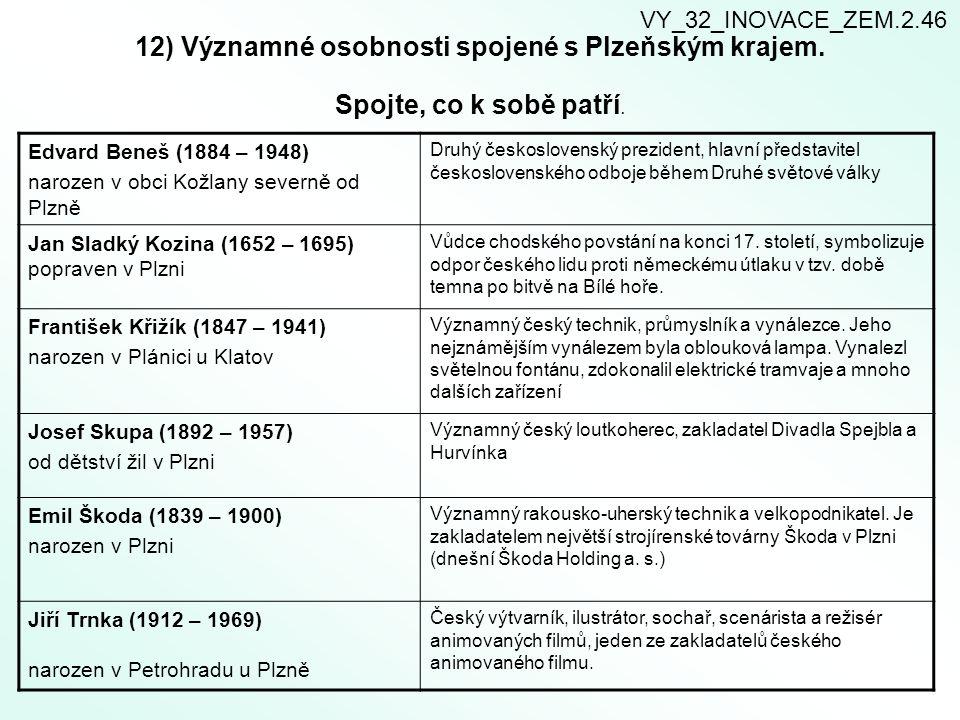12) Významné osobnosti spojené s Plzeňským krajem. Spojte, co k sobě patří. Edvard Beneš (1884 – 1948) narozen v obci Kožlany severně od Plzně Druhý č