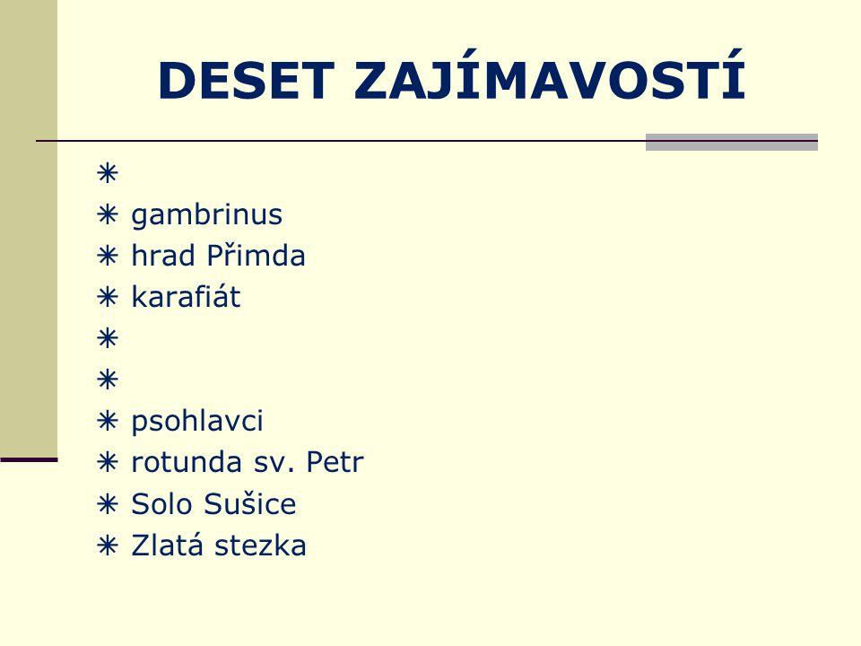 DESET ZAJÍMAVOSTÍ zadání Vyberte si jednu ze zajímavostí Plzeňského kraje a zjistěte o ní co nejvíce na internetu nebo v literatuře.