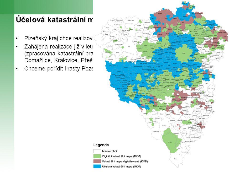 Účelová katastrální mapa z pohledu PK Plzeňský kraj chce realizovat tento projekt Zahájena realizace již v letech 2008 a 2009 z vlastních finančních prostředků (zpracována katastrální pracoviště Plzeň-jih, Plzeň-město, Plzeň-sever, Domažlice, Kralovice, Přeštice Chceme pořídit i rasty Pozemkového katastru na celém území kraje
