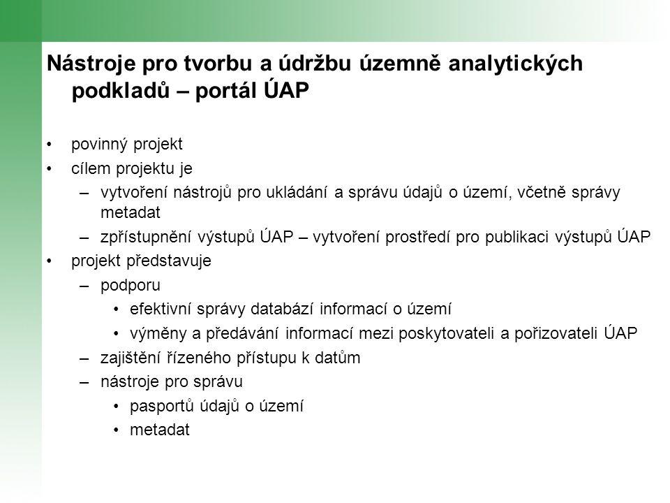 Nástroje pro tvorbu a údržbu územně analytických podkladů – portál ÚAP povinný projekt cílem projektu je –vytvoření nástrojů pro ukládání a správu údajů o území, včetně správy metadat –zpřístupnění výstupů ÚAP – vytvoření prostředí pro publikaci výstupů ÚAP projekt představuje –podporu efektivní správy databází informací o území výměny a předávání informací mezi poskytovateli a pořizovateli ÚAP –zajištění řízeného přístupu k datům –nástroje pro správu pasportů údajů o území metadat
