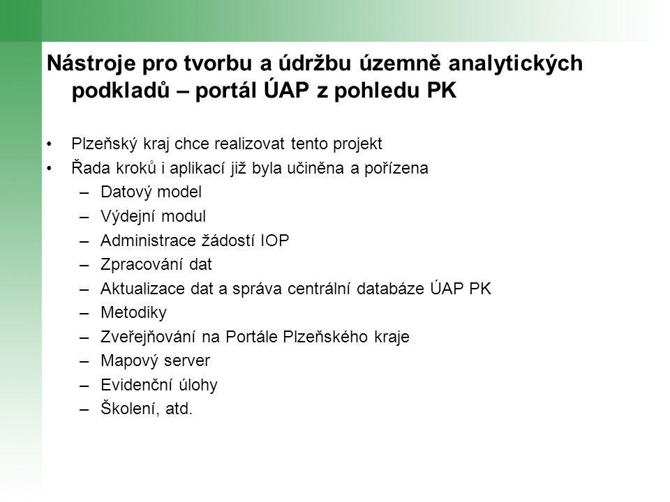 Nástroje pro tvorbu a údržbu územně analytických podkladů – portál ÚAP z pohledu PK Plzeňský kraj chce realizovat tento projekt Řada kroků i aplikací již byla učiněna a pořízena –Datový model –Výdejní modul –Administrace žádostí IOP –Zpracování dat –Aktualizace dat a správa centrální databáze ÚAP PK –Metodiky –Zveřejňování na Portále Plzeňského kraje –Mapový server –Evidenční úlohy –Školení, atd.