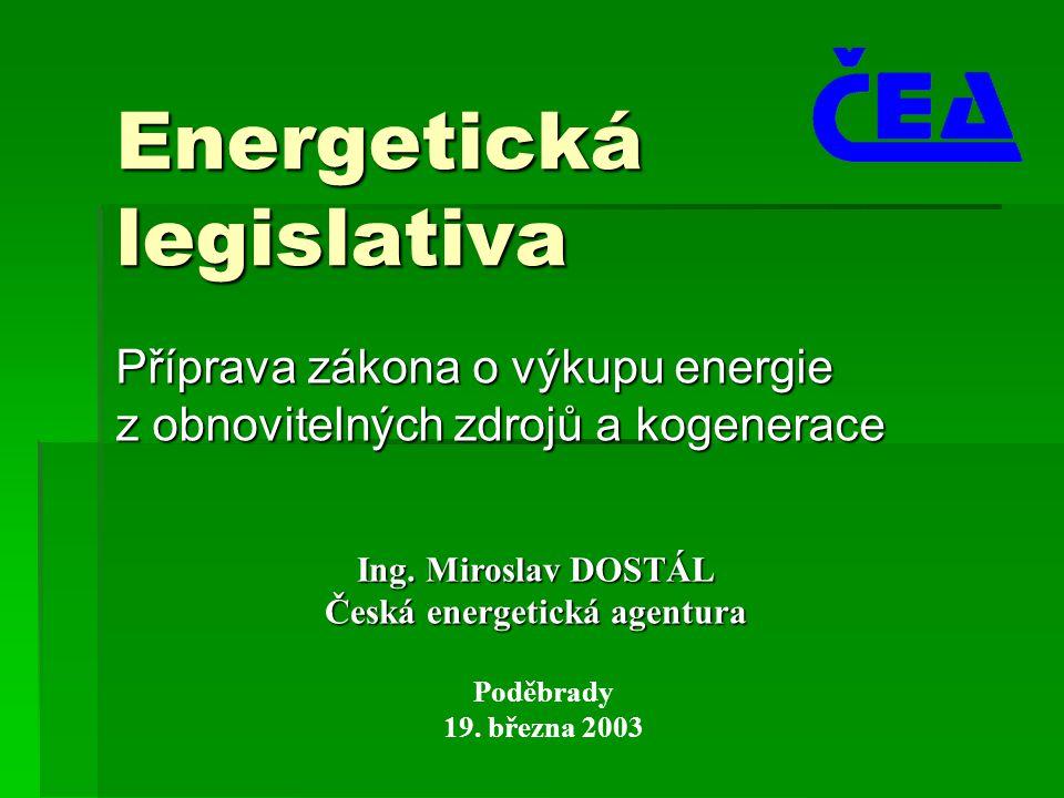 Energetická legislativa Příprava zákona o výkupu energie z obnovitelných zdrojů a kogenerace Poděbrady 19.
