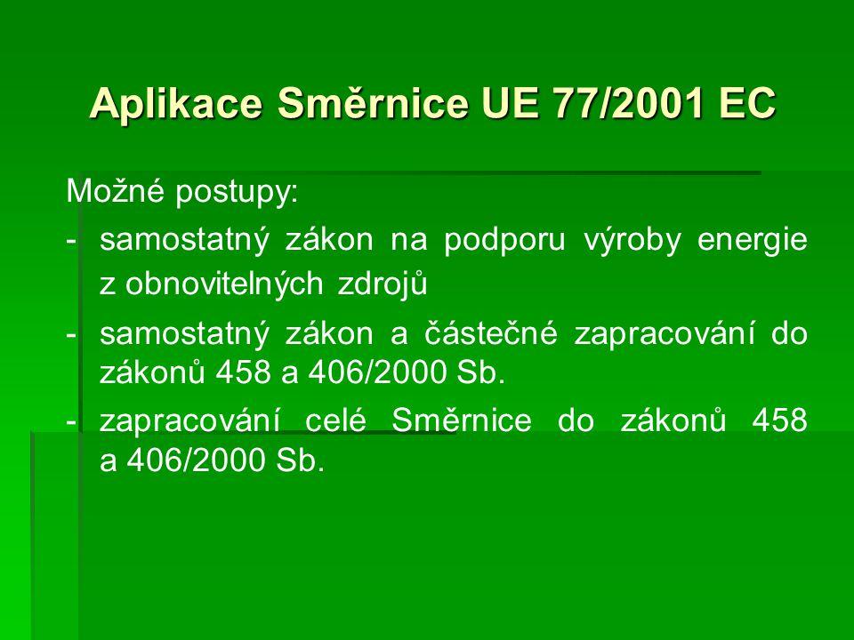 Aplikace Směrnice UE 77/2001 EC Možné postupy: - -samostatný zákon na podporu výroby energie z obnovitelných zdrojů - -samostatný zákon a částečné zapracování do zákonů 458 a 406/2000 Sb.