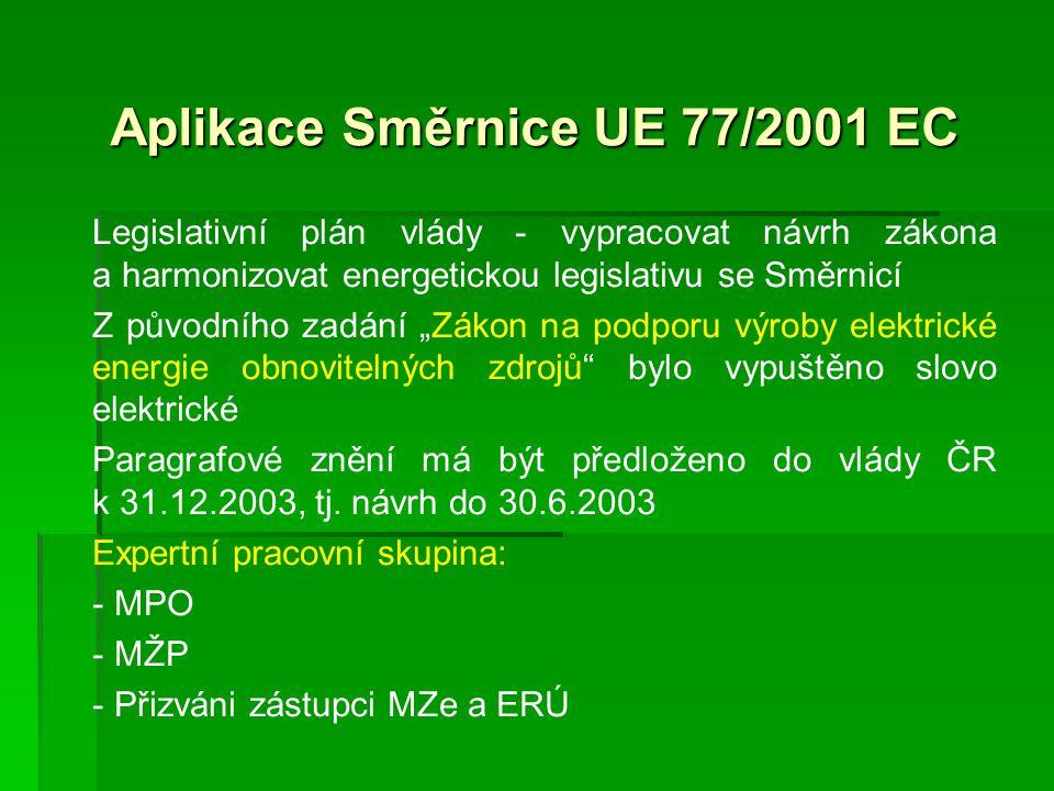 """Aplikace Směrnice UE 77/2001 EC Legislativní plán vlády - vypracovat návrh zákona a harmonizovat energetickou legislativu se Směrnicí Z původního zadání """"Zákon na podporu výroby elektrické energie obnovitelných zdrojů bylo vypuštěno slovo elektrické Paragrafové znění má být předloženo do vlády ČR k 31.12.2003, tj."""