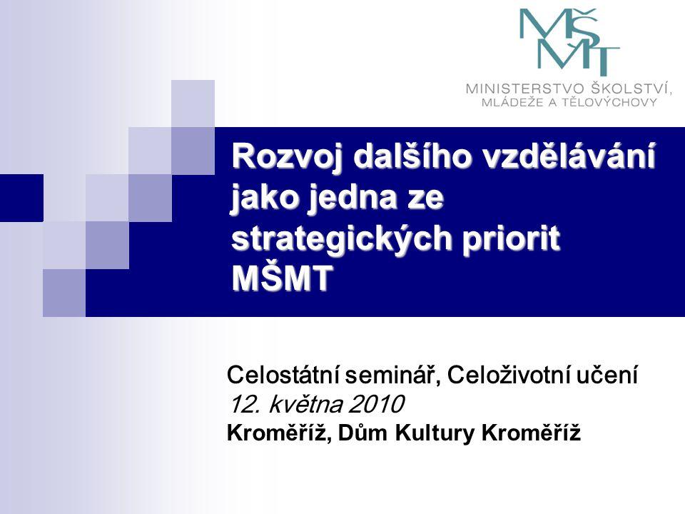 Rozvoj dalšího vzdělávání jako jedna ze strategických priorit MŠMT Celostátní seminář, Celoživotní učení 12. května 2010 Kroměříž, Dům Kultury Kroměří