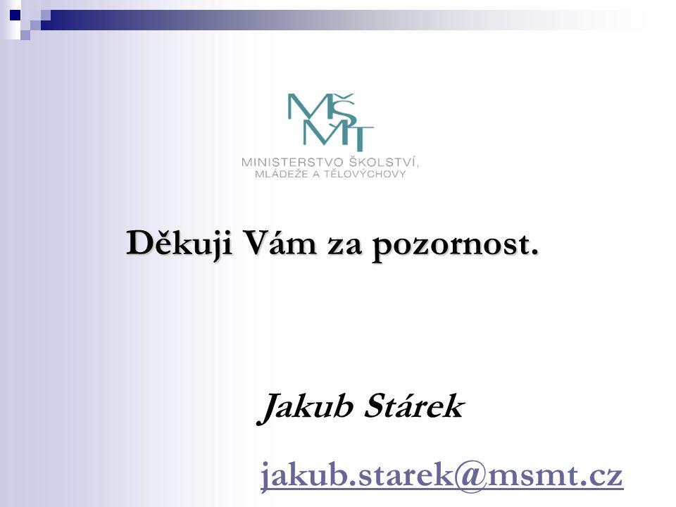 Děkuji Vám za pozornost. Jakub Stárek jakub.starek@msmt.cz