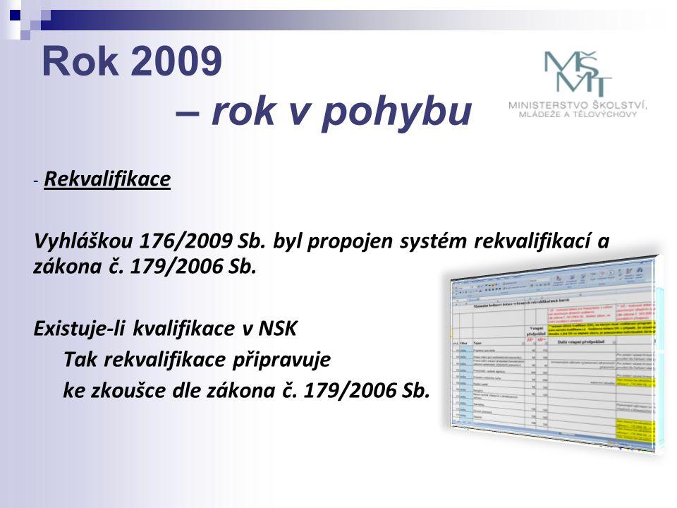 Rok 2009 – rok v pohybu - Rekvalifikace Vyhláškou 176/2009 Sb. byl propojen systém rekvalifikací a zákona č. 179/2006 Sb. Existuje-li kvalifikace v NS