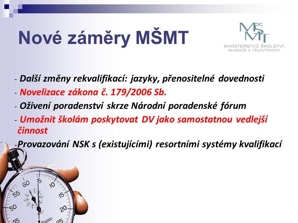 Nové záměry MŠMT - Další změny rekvalifikací: jazyky, přenositelné dovednosti - Novelizace zákona č.