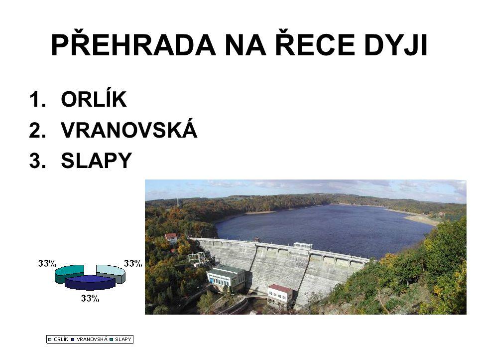 PŘEHRADA NA ŘECE DYJI 1.ORLÍK 2.VRANOVSKÁ 3.SLAPY