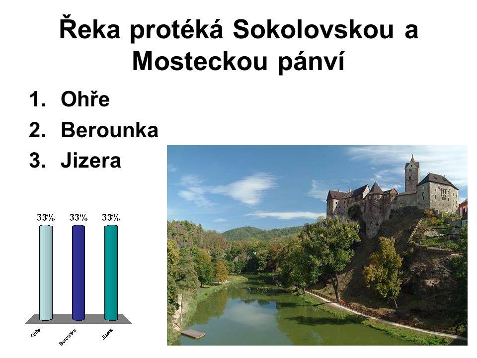 Řeka protéká Sokolovskou a Mosteckou pánví 1.Ohře 2.Berounka 3.Jizera