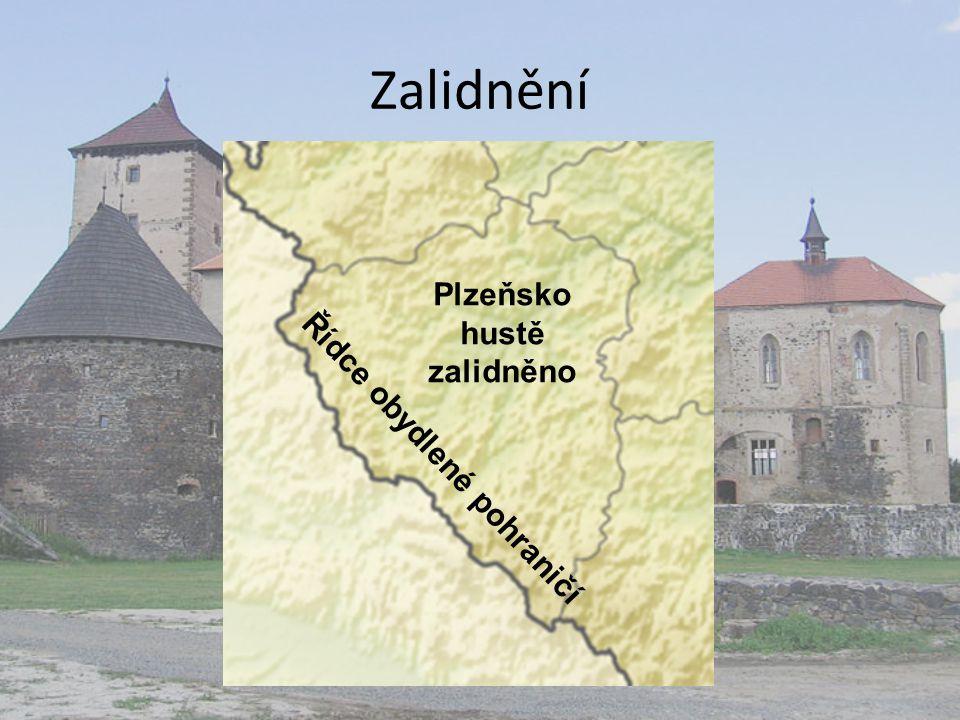 Zalidnění Řídce obydlené pohraničí Plzeňsko hustě zalidněno