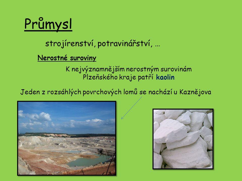 Průmysl strojírenství, potravinářství, … Nerostné suroviny K nejvýznamnějším nerostným surovinám Plzeňského kraje patří kaolin Jeden z rozsáhlých povr