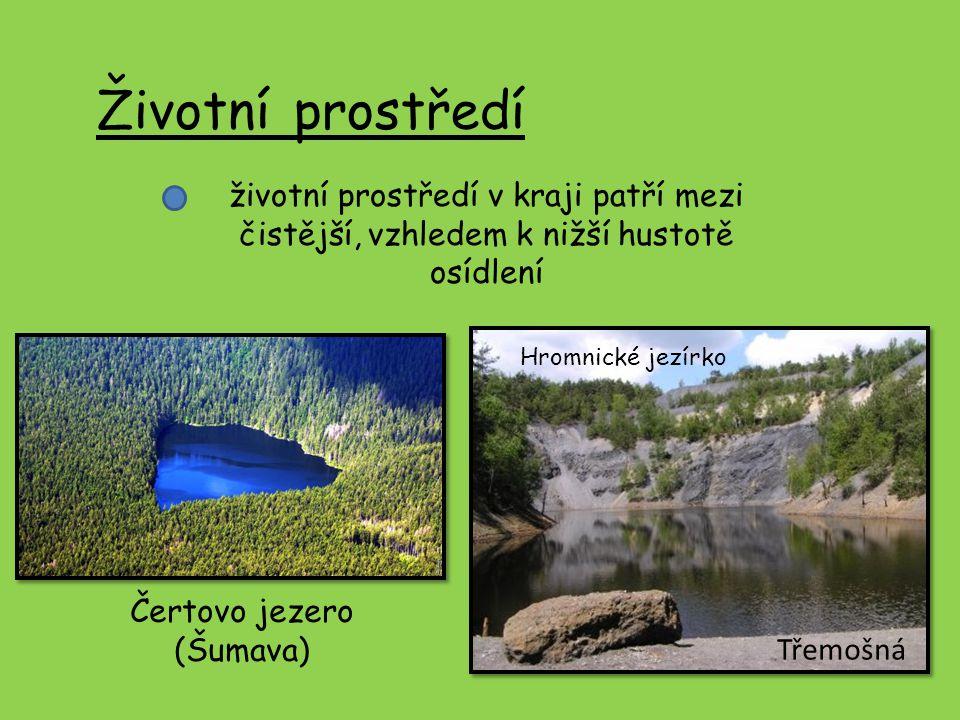 Životní prostředí životní prostředí v kraji patří mezi čistější, vzhledem k nižší hustotě osídlení Hromnické jezírko Třemošná Čertovo jezero (Šumava)