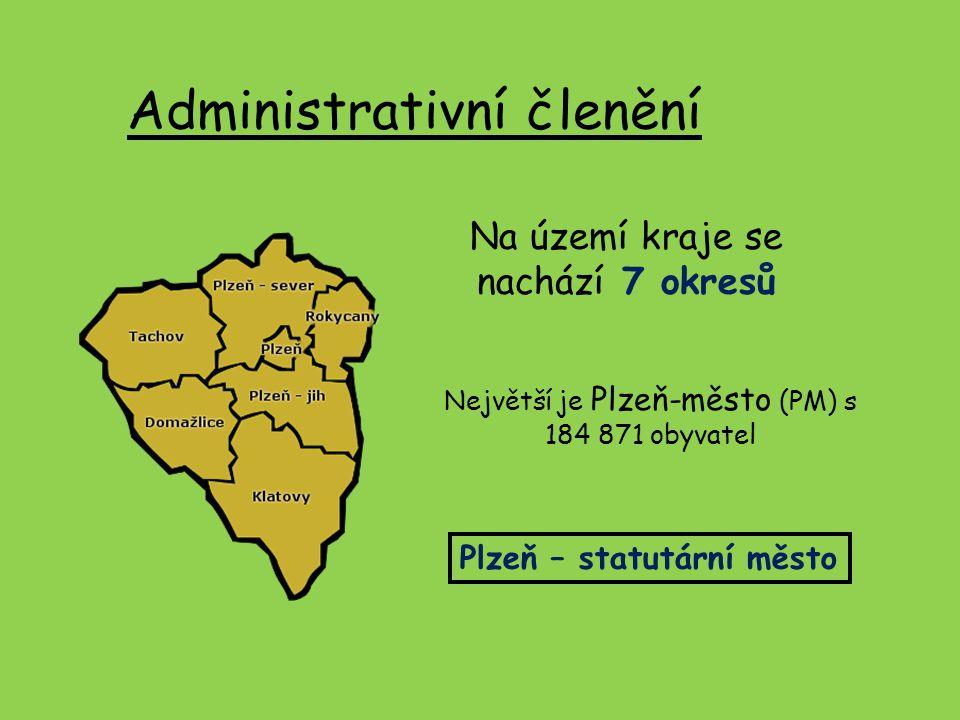 Administrativní členění Na území kraje se nachází 7 okresů Největší je Plzeň-město (PM) s 184 871 obyvatel Plzeň – statutární město