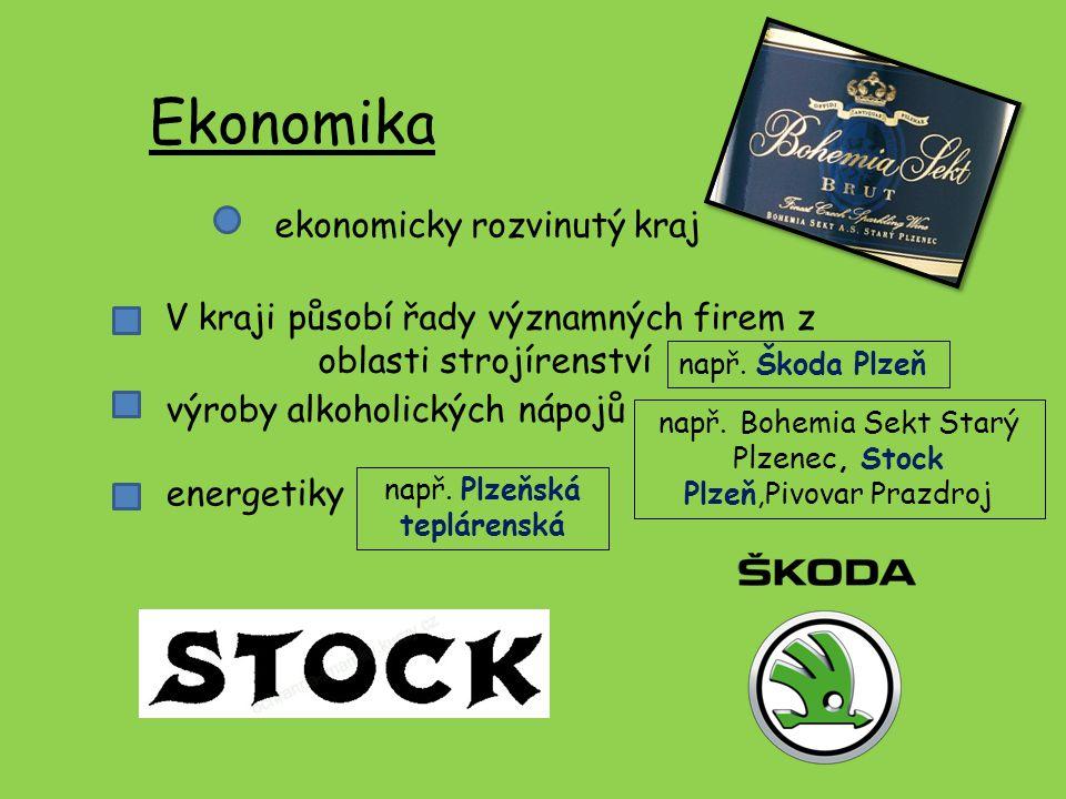 Ekonomika ekonomicky rozvinutý kraj V kraji působí řady významných firem z oblasti strojírenství např. Škoda Plzeň výroby alkoholických nápojů např. B