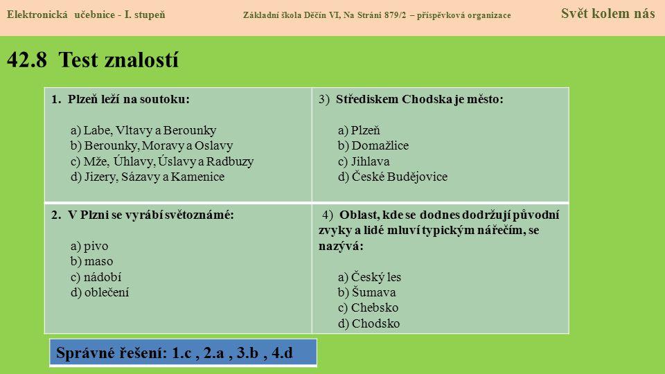 42.8 Test znalostí Elektronická učebnice - I. stupeň Základní škola Děčín VI, Na Stráni 879/2 – příspěvková organizace Svět kolem nás 1.Plzeň leží na