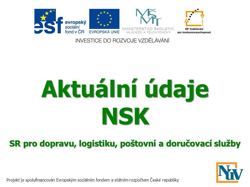 Aktuální údaje NSK SR pro dopravu, logistiku, poštovní a doručovací služby Projekt je spolufinancován Evropským sociálním fondem a státním rozpočtem České republiky