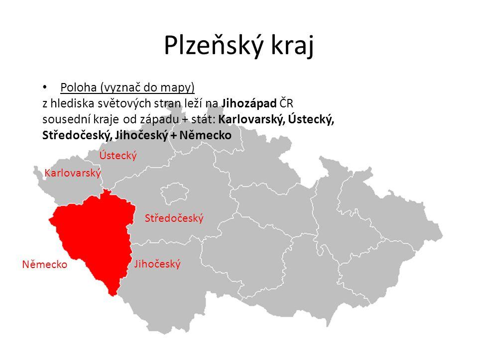 Plzeňský kraj Ústecký Karlovarský Jihočeský Středočeský Poloha (vyznač do mapy) z hlediska světových stran leží na Jihozápad ČR sousední kraje od zápa