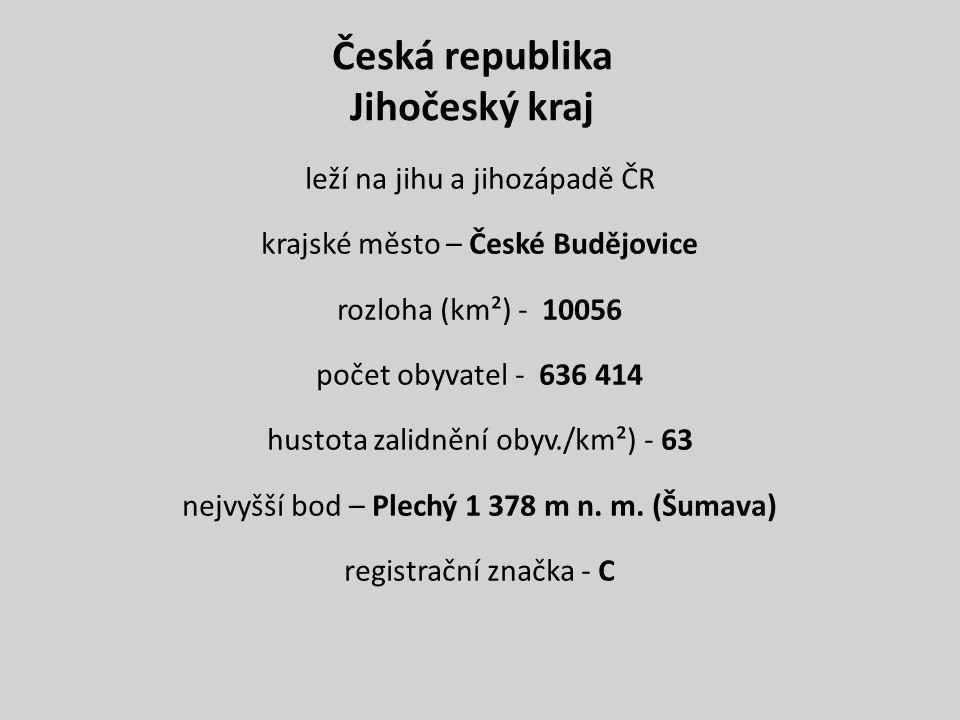 Česká republika Jihočeský kraj leží na jihu a jihozápadě ČR krajské město – České Budějovice rozloha (km²) - 10056 počet obyvatel - 636 414 hustota zalidnění obyv./km²) - 63 nejvyšší bod – Plechý 1 378 m n.