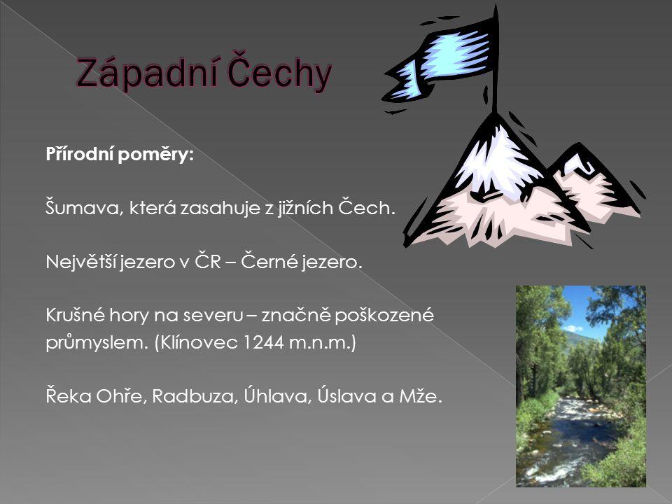 Přírodní poměry: Šumava, která zasahuje z jižních Čech.
