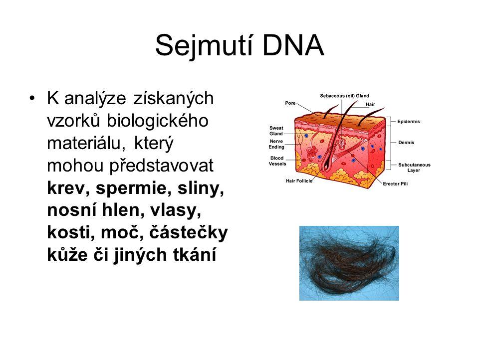 Sejmutí DNA K analýze získaných vzorků biologického materiálu, který mohou představovat krev, spermie, sliny, nosní hlen, vlasy, kosti, moč, částečky kůže či jiných tkání