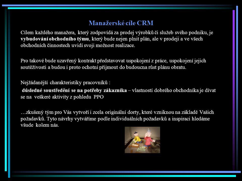 Manažerské cíle CRM Cílem každého manažera, který zodpovídá za prodej výrobků či služeb svého podniku, je vybudování obchodního týmu, který bude nejen