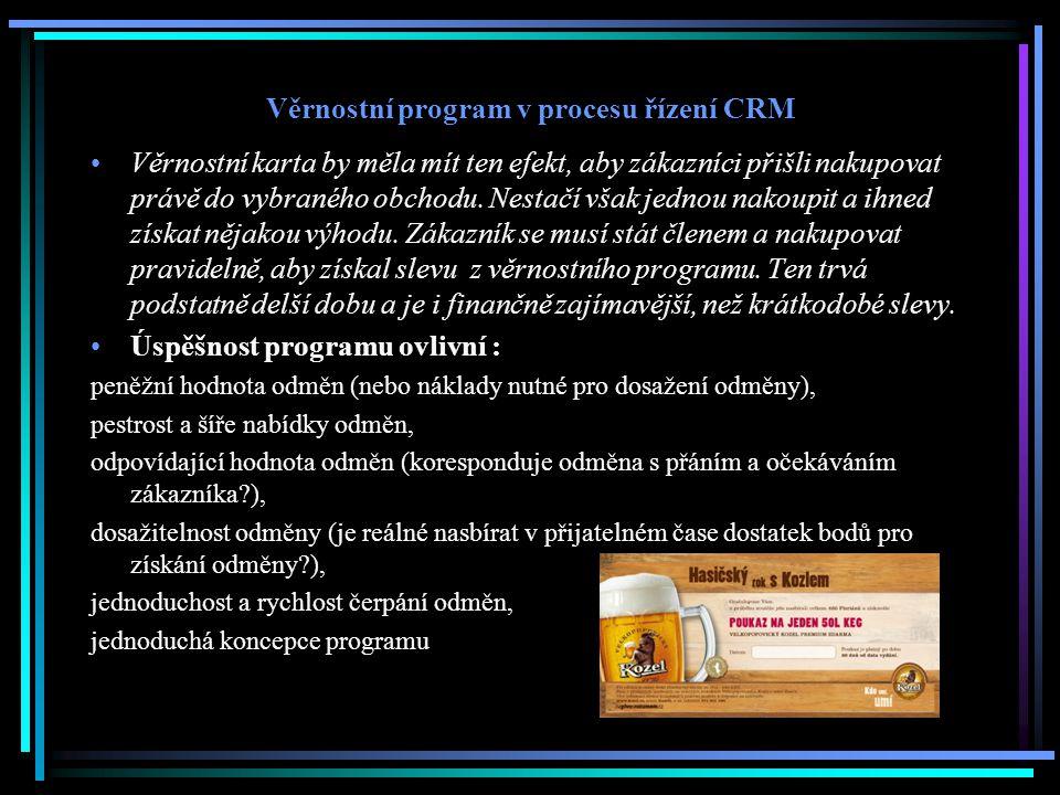 Věrnostní program v procesu řízení CRM Věrnostní karta by měla mít ten efekt, aby zákazníci přišli nakupovat právě do vybraného obchodu. Nestačí však