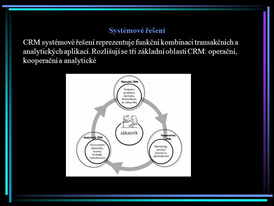 Systémové řešení CRM systémové řešení reprezentuje funkční kombinaci transakčních a analytických aplikací. Rozlišují se tři základní oblasti CRM: oper