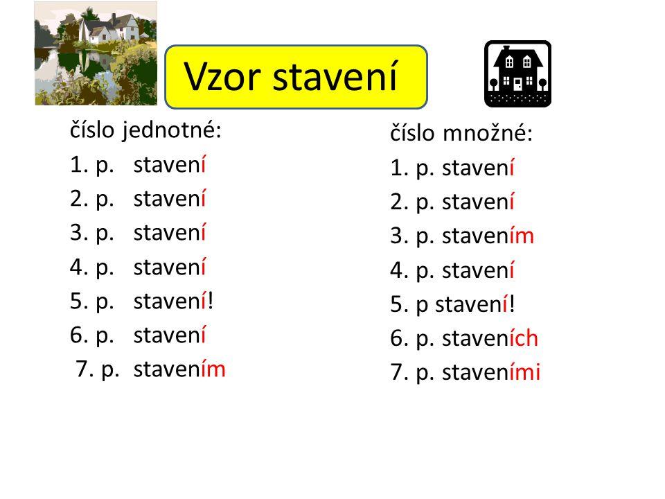 Vzor stavení číslo jednotné: 1. p. stavení 2. p. stavení 3. p. stavení 4. p. stavení 5. p. stavení! 6. p. stavení 7. p. stavením číslo množné: 1. p. s