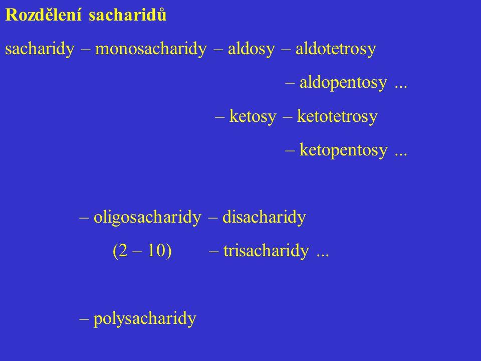 Rozdělení sacharidů sacharidy – monosacharidy – aldosy – aldotetrosy – aldopentosy... – ketosy – ketotetrosy – ketopentosy... – oligosacharidy – disac