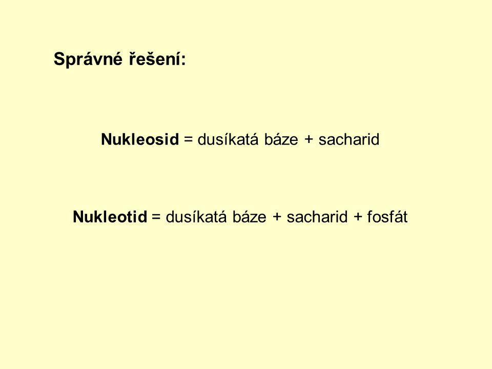 Správné řešení: Nukleosid = dusíkatá báze + sacharid Nukleotid = dusíkatá báze + sacharid + fosfát
