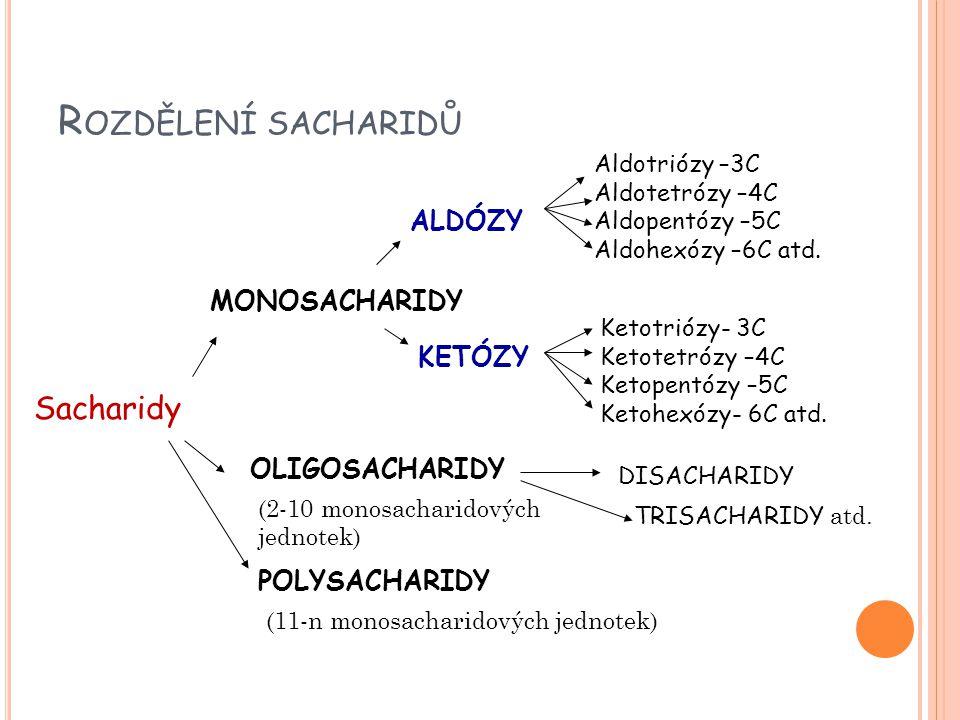 R OZDĚLENÍ SACHARIDŮ Sacharidy MONOSACHARIDY ALDÓZY KETÓZY Aldotriózy –3C Aldotetrózy –4C Aldopentózy –5C Aldohexózy –6C atd.