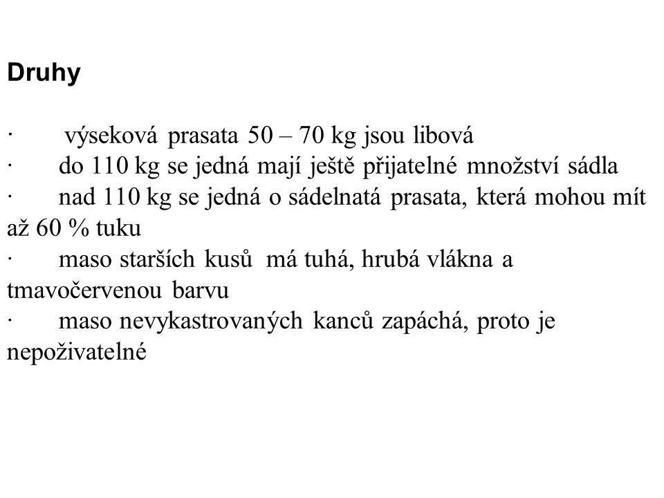 Druhy · výseková prasata 50 – 70 kg jsou libová · do 110 kg se jedná mají ještě přijatelné množství sádla · nad 110 kg se jedná o sádelnatá prasata, k