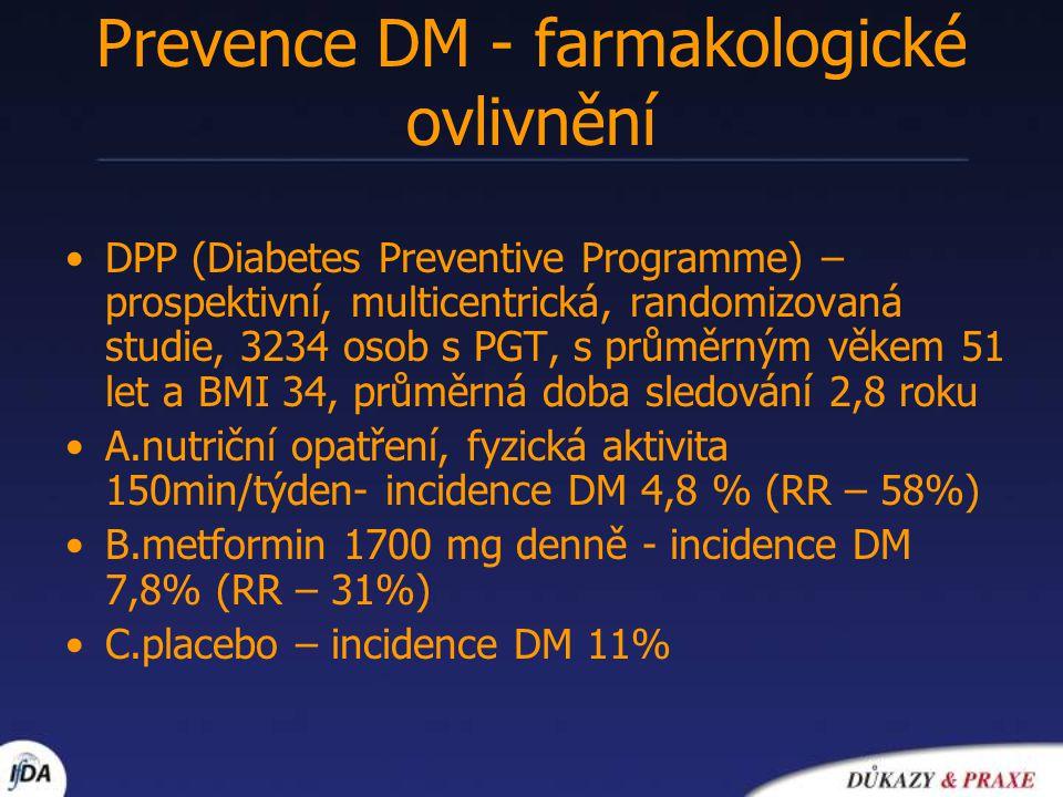 Prevence DM - farmakologické ovlivnění Studie TRIPOD - hispánské ženy s gestačním diabetem v anamnese /placebo vs troglitazone/ Studie STOP-NIDDM akarbosa vs placebo u osob s IGT Studie XENDOS –orlistat vs placebo Studie DREAM – ramipril, rosiglitazon u osob s IGT (4000 osob) nebo IFG (1000 osob)