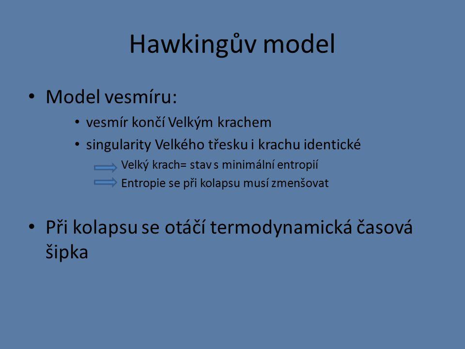 Hawkingův model Model vesmíru: vesmír končí Velkým krachem singularity Velkého třesku i krachu identické Velký krach= stav s minimální entropií Entropie se při kolapsu musí zmenšovat Při kolapsu se otáčí termodynamická časová šipka