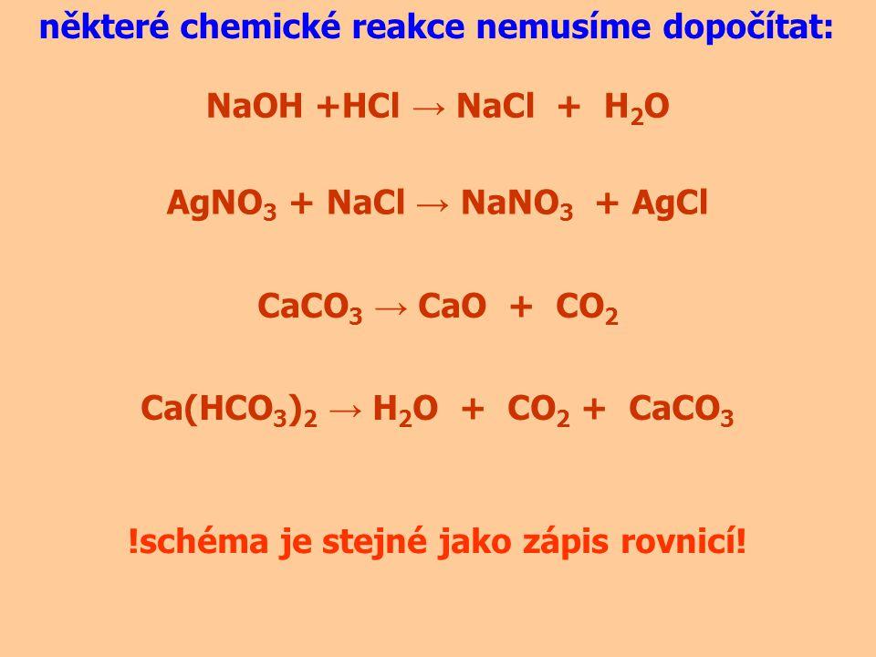 některé chemické reakce dopočítáme rychle: 2Na +2H 2 O → H 2 +2NaOH Na + H 2 O → H 2 + NaOH když se podíváme na poměr vodíků na levé a pravé straně, je jasné, že jich potřebujeme na pravé straně sudý počet, napíšeme tedy před NaOH stechiometrický koeficient 2 2 tím pádem se na pravé straně ustavil počet sodíků na dva, potřebujeme na levé straně také dva, napíšeme tedy před Na také stechiometrický koeficient 2 2 na pravé straně jsou dva kyslíky, potřebujeme na levé straně také dva, napíšeme tedy před H 2 O stechiometrický koeficient 2 2 nakonec zkontrolujeme ještě jednou počty prvků na levé a pravé straně a pokud se počty shodují, máme dopočteno