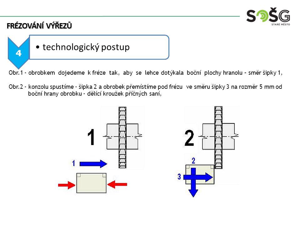 5 technologický postup Obr.3,4 - přesuneme obrobek pod frézu tak, aby se břity lehce dotýkaly horní plochy obrobku, podélným pohybem stolu odsuneme obrobek od frézy a zdvíháním konzoly nastavíme hloubku řezu 10 mm (hodnotu odečteme na dělícím kroužku konzoly), příčné sáně i konzolu zajistíme.
