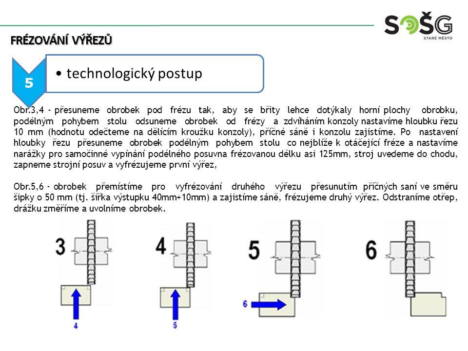6 technologický postup Má-li výřez velké rozměry (hlavně hloubku), frézujeme více záběry, při frézování většího počtu ks bude výhodné použít dvojici kotoučových fréz upnutých na společném trnu, šířku 40 mm nastavíme pomocí rozpěrného kroužku, potom frézujeme oba zářezy na jeden záběr, případně více záběrů u velké hloubky viz obr.