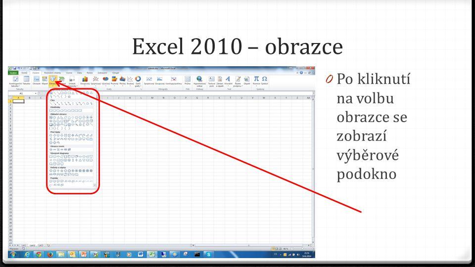 Excel 2010 – obrazce 0 Po kliknutí na volbu obrazce se zobrazí výběrové podokno