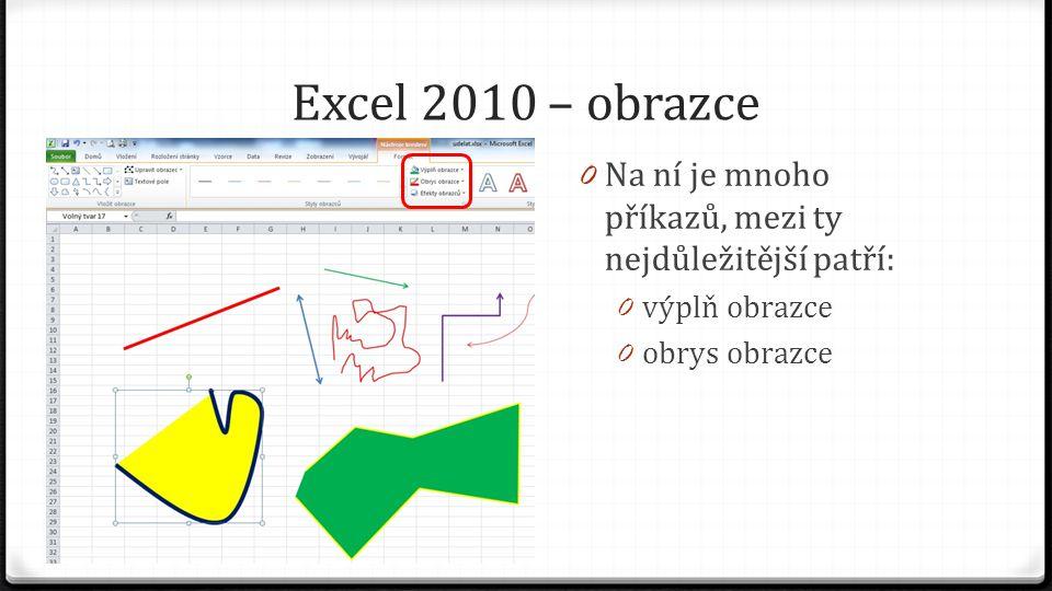 Excel 2010 – obrazce 0 Na ní je mnoho příkazů, mezi ty nejdůležitější patří: 0 výplň obrazce 0 obrys obrazce