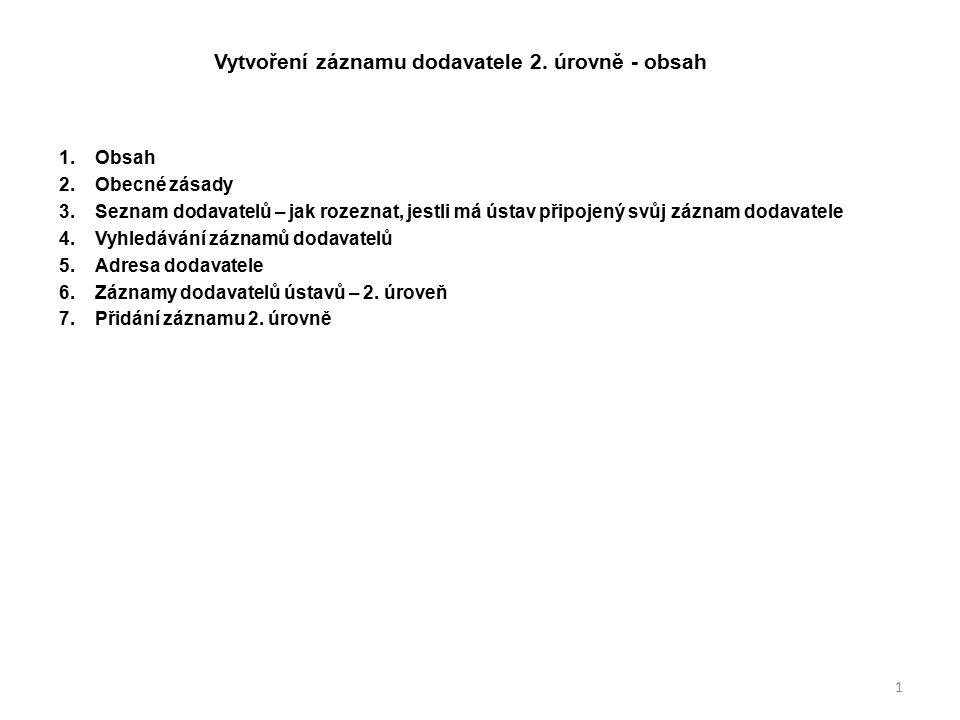 Vytvoření záznamu dodavatele 2. úrovně - obsah 1.Obsah 2.Obecné zásady 3.Seznam dodavatelů – jak rozeznat, jestli má ústav připojený svůj záznam dodav